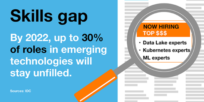 Skills gap. By 2020 up to 30% of roles in emerging technologies will stay unfilled. Data lake expert, kubernetes expert, ML expert