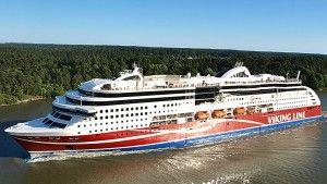 Viking Grace seiler i Viking Line`s rute Åbo, Mariehamn, Stockholm. Skipet drives av LNG-gass  - samme drivstoffteknologi som Fjord Lines skip MS Bergensfjord og MS Bergensfjord (vikingline.fi)