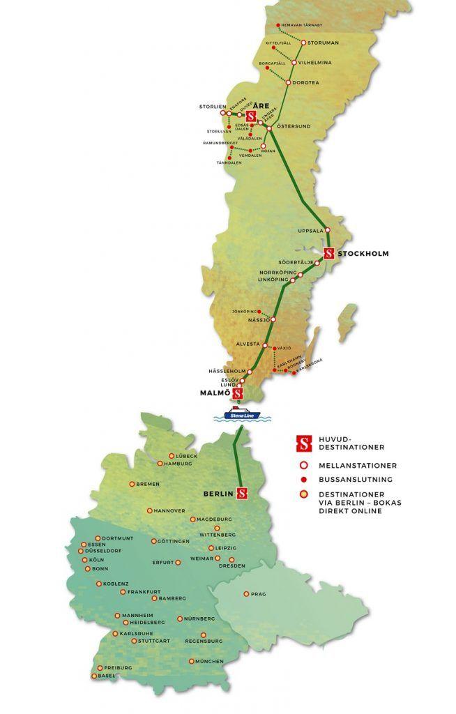 Rutekart - Snälltåget - Berlin - Malmø - Stockholm - Åre - Storuman
