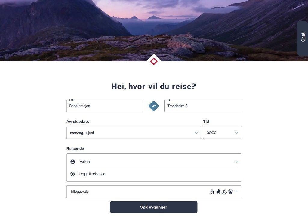 SJ Norge - Nettside - Billettbestilling