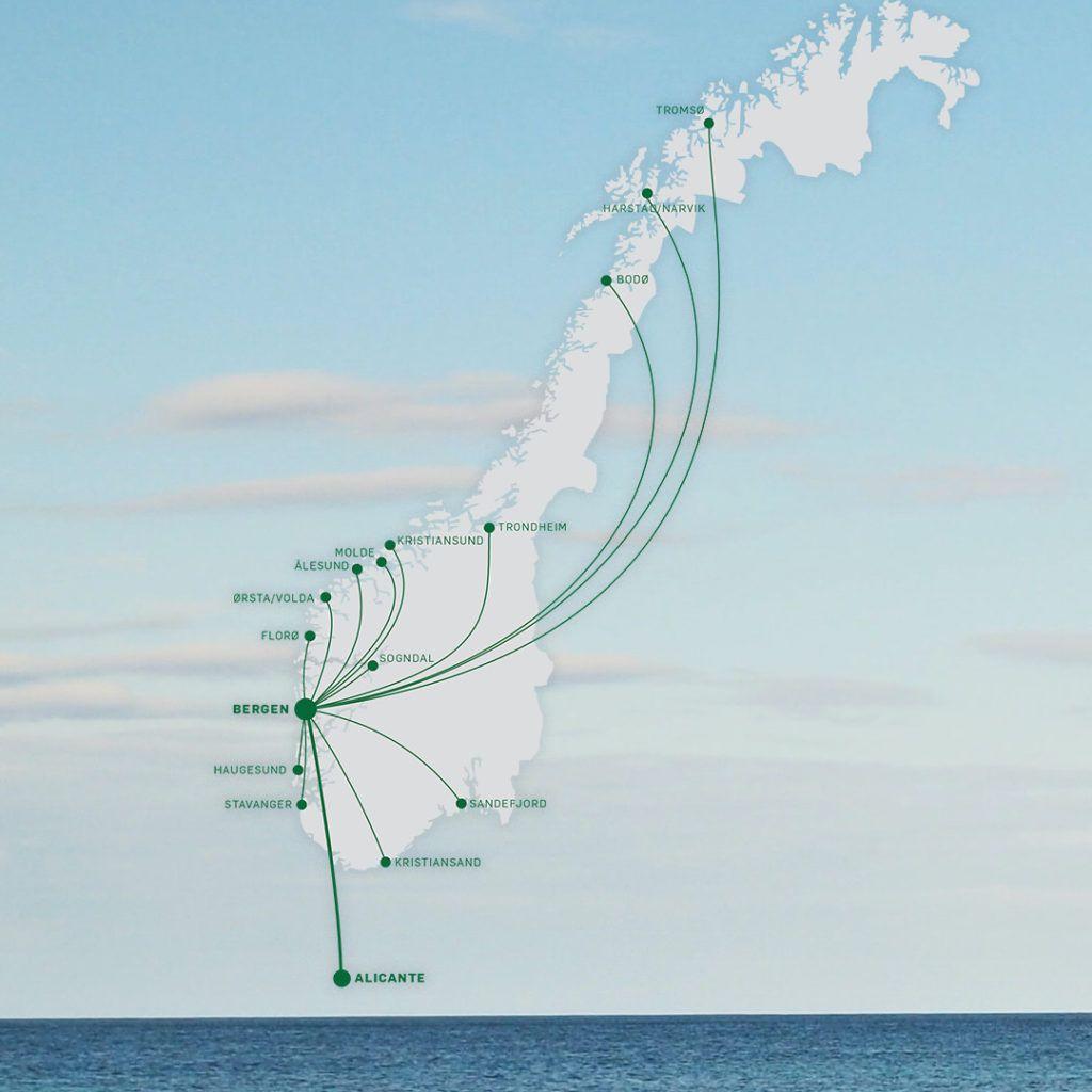 Alicante - Rutekart - Widerøe - september 2021