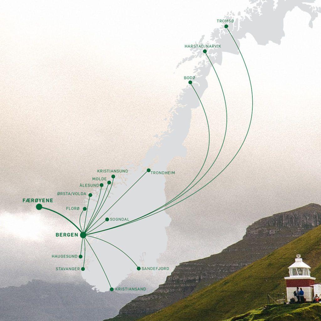 Færøyene - Rutekart - Widerøe - september 2021