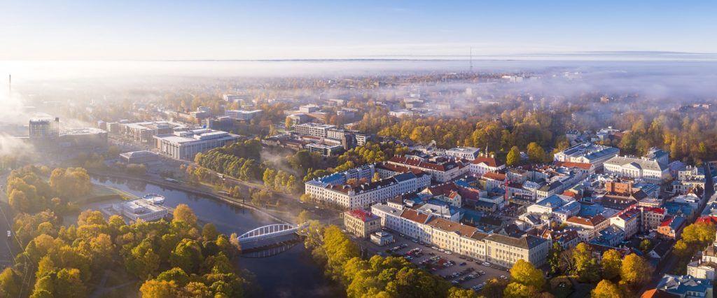 Dronebilde - Gamlebyen - Tartu - Dorpat - Estland
