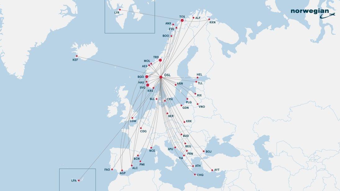 Norwegian - Rutekart - Destinasjoner - Sommeren 2021