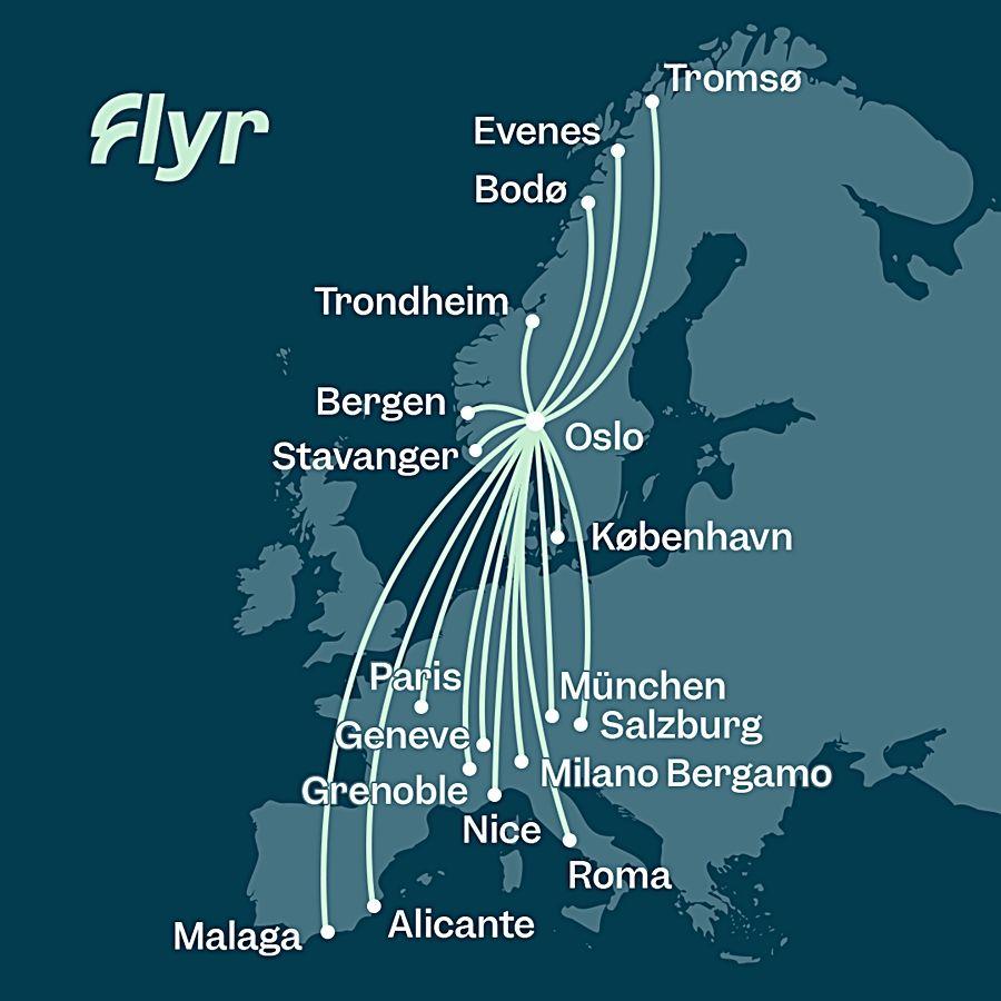 Rutekart - Flyr - Høsten 2021
