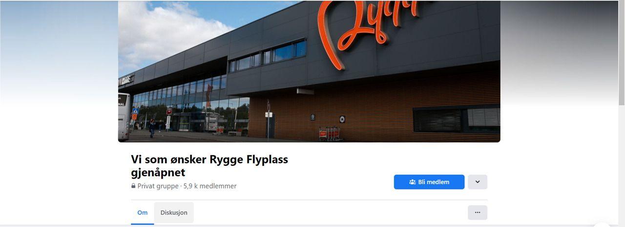 Screenshot - Vi som ønsker Rygge Flyplass gjenåpnet - Facebookgruppe