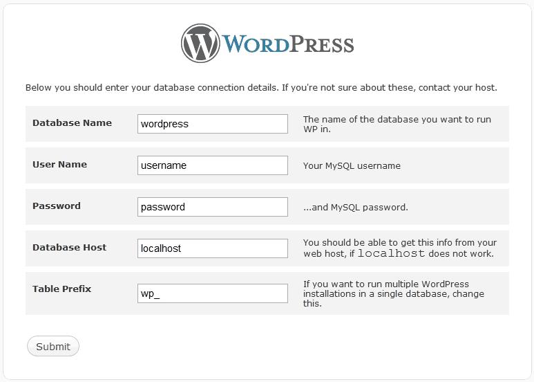 WordPress Database Conection