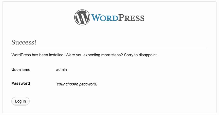 WordPress Install Success