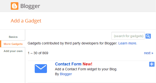 Blogger Contact Form Widget