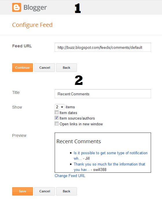 Blogger Comment Feed Widget