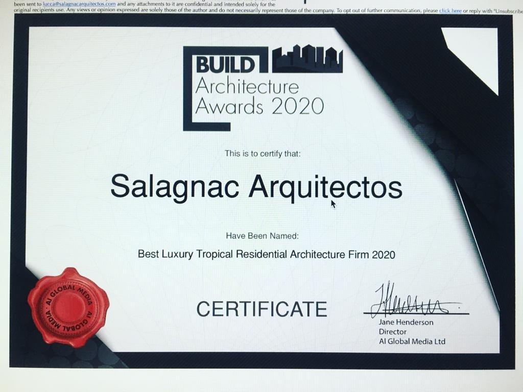 El galardón fue entregado por Build Architecture Awards 2020.