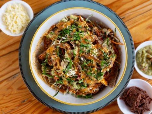Nachos vegetarianos de maíz morado